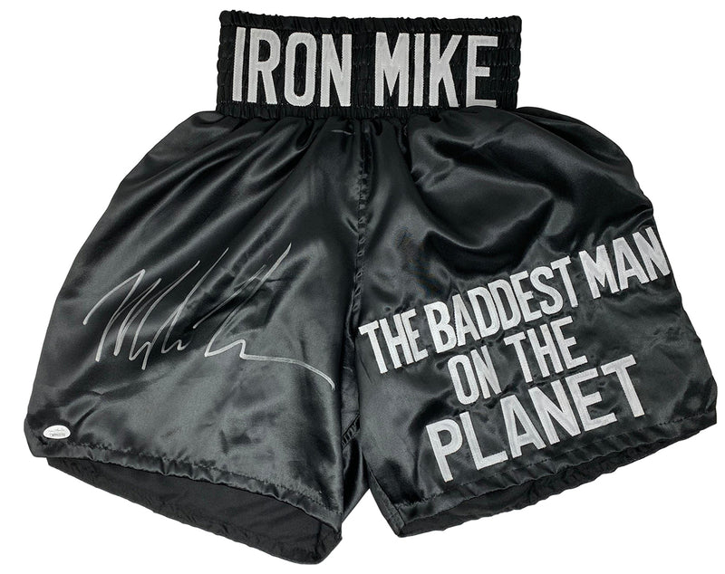 Mike Tyson Signed Custom Black The Baddest Man On The Planet Boxing Trunks JSA PSM-Powers Sports Memorabilia