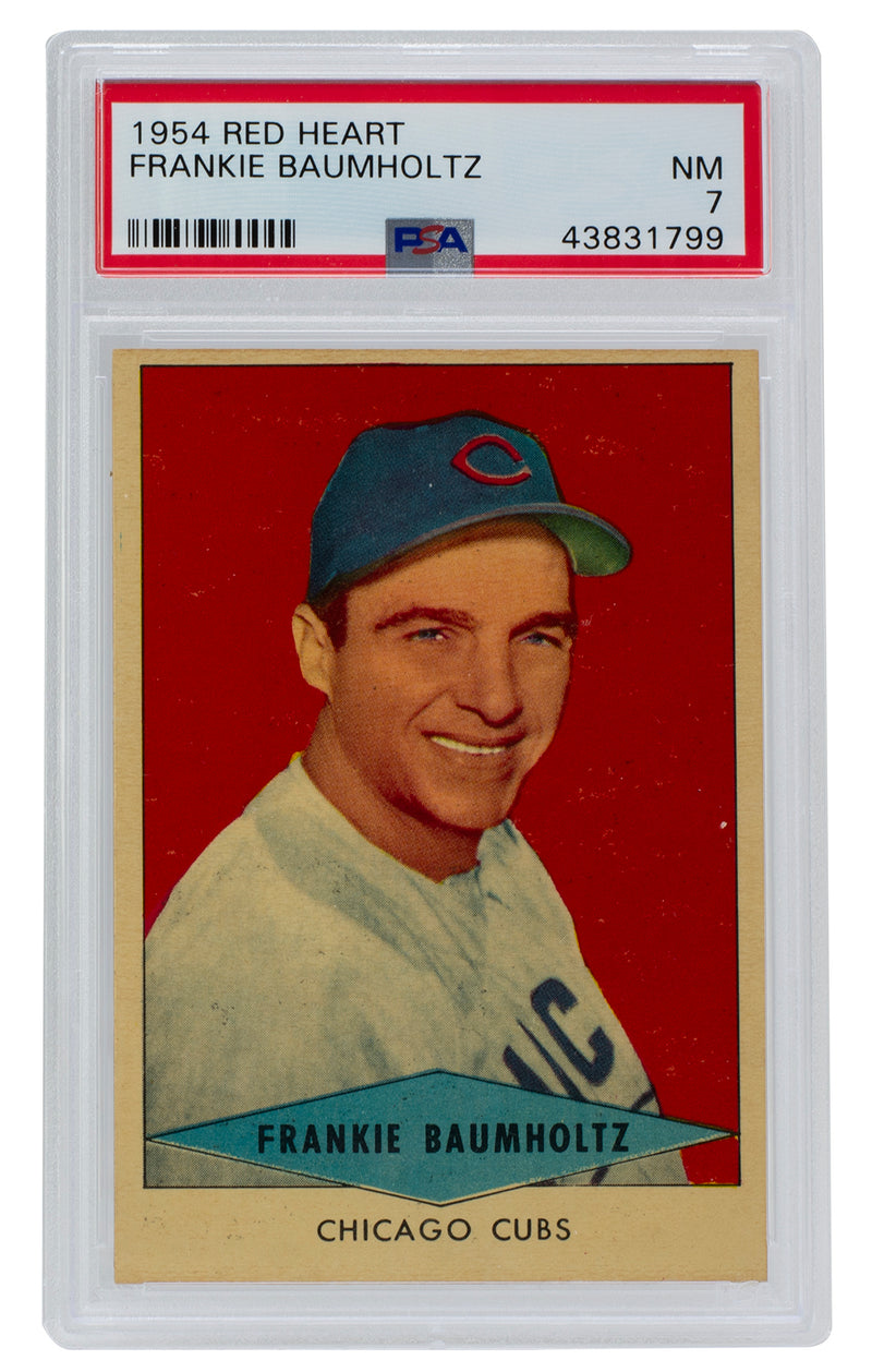 Frankie Baumholtz Chicago Cubs 1954 Red Heart Slabbed Baseball Card NM 7 PSA PSM-Powers Sports Memorabilia