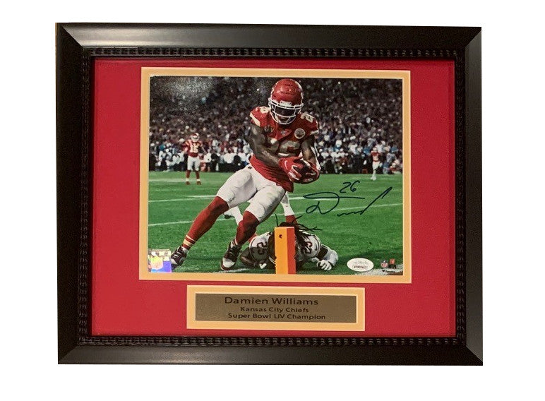 Damien Williams Autographed Kansas City Chiefs Super Bowl 54 LIV Touchdown Framed 8x10 Football Photo JSA COA-Powers Sports Memorabilia