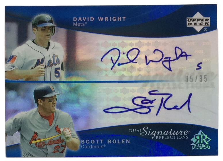 David Wright Scott Rolen Signed 2005 UD Dual Signature Reflections 5/35 Card PSM-Powers Sports Memorabilia