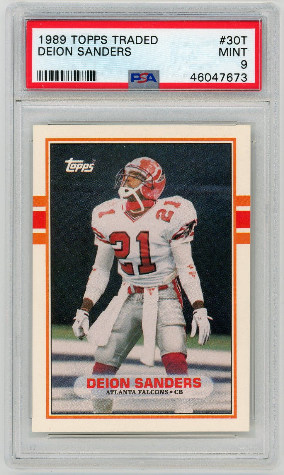 Deion Sanders Atlanta Falcons 1989 Topps Traded Football Rookie Card RC #30T Graded PSA 9 MINT-Powers Sports Memorabilia