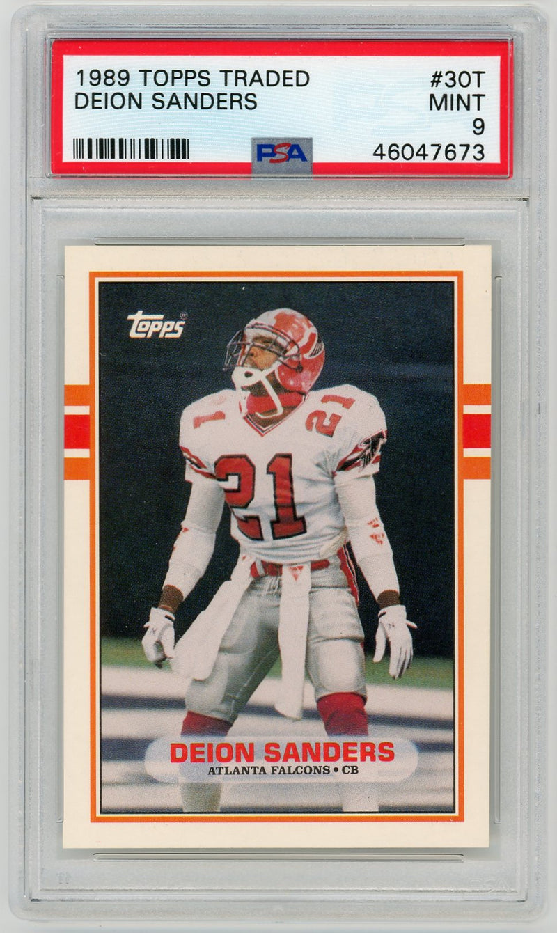 Deion Sanders 1989 Topps Traded Football Rookie Card RC #30T Graded PSA 9 MINT-Powers Sports Memorabilia