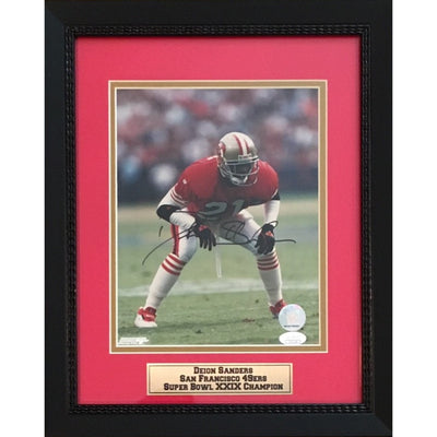 Deion Sanders Autographed San Francisco 49ers Signed 8x10 Football Photo Framed JSA COA-Powers Sports Memorabilia