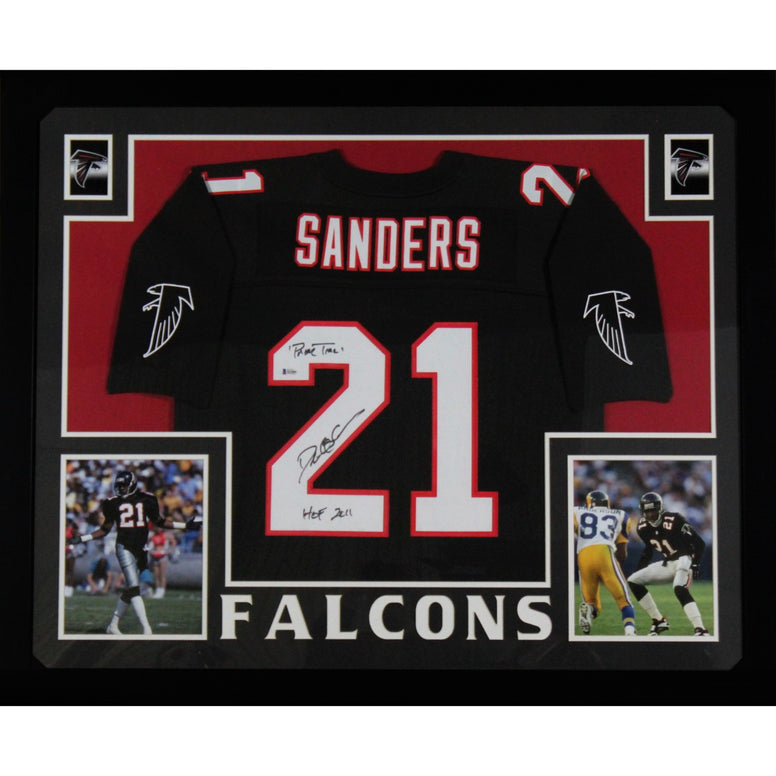 Deion Sanders Autographed Atlanta Falcons Signed Mitchell and Ness Football Black Framed Jersey HOF Prime Time Beckett BAS COA-Powers Sports Memorabilia