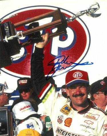 Dale Jarrett signed NASCAR STP/Interstate Batteries 8x10 Photo (with Trophy at 1993 Daytona 500) PSM-Powers Sports Memorabilia