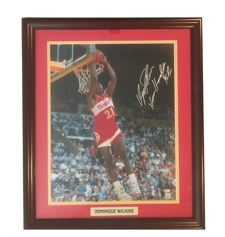 Dominique Wilkins Autographed Atlanta Hawks Framed 16x20 Basketball Photo HUMAN HIGHLIGHT FILM Schwartz Sports COA