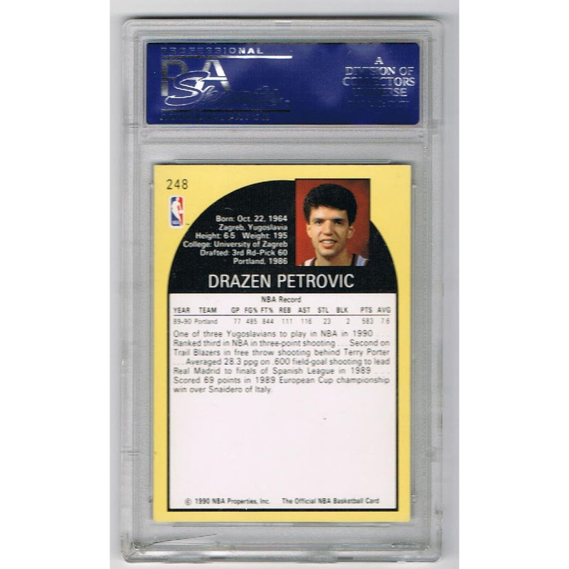 Drazen Petrovic Autographed Portland Trail Blazers Signed 1990 Hoops NBA Basketball Rookie Card PSA DNA COA-Powers Sports Memorabilia