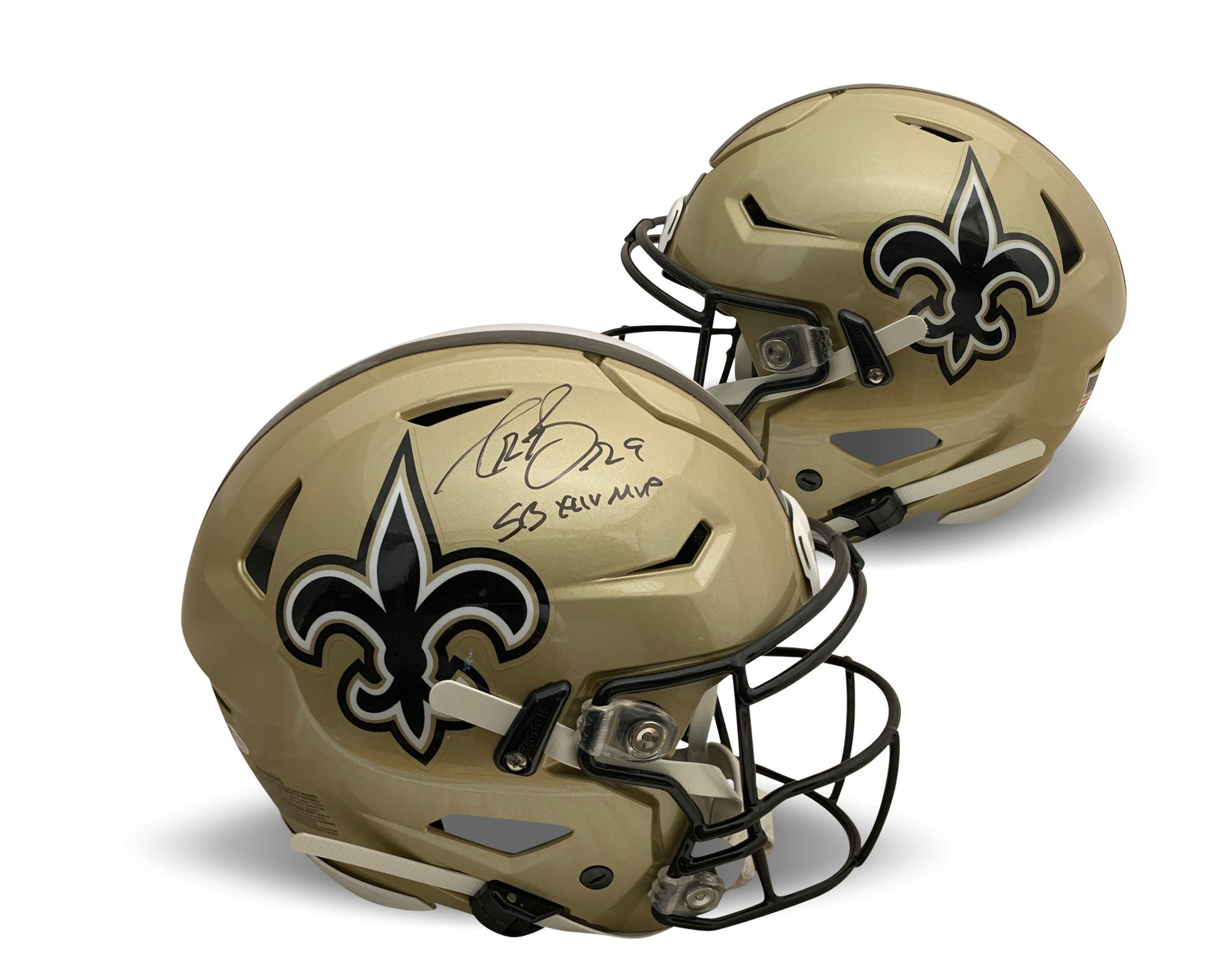 Drew Brees Autographed New Orleans Saints Signed Super Bowl XLIV 44 MVP Authentic Full Size Speedflex Football Helmet Beckett BAS COA-Powers Sports Memorabilia