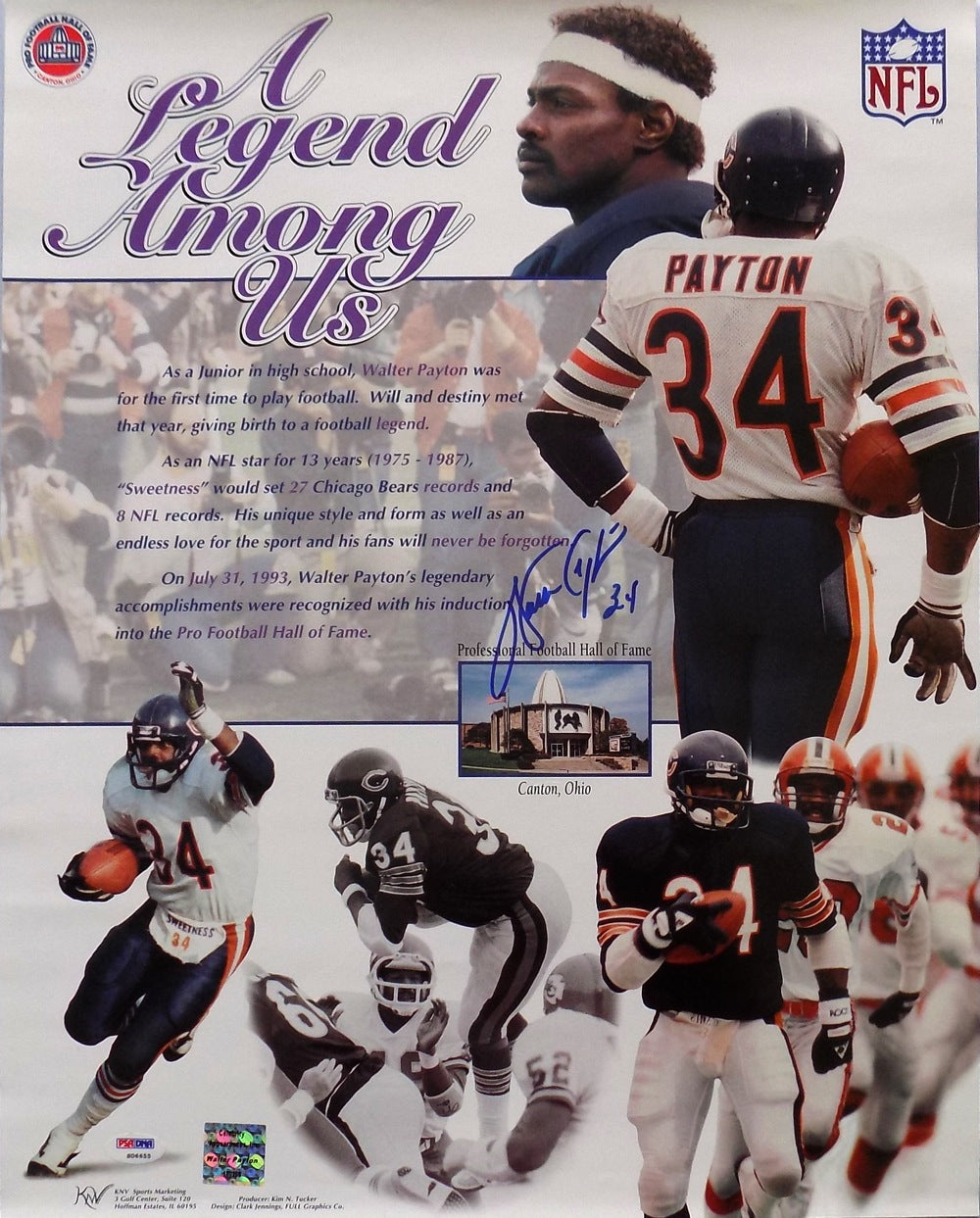 Walter Payton Chicago Bears Signed 16x20 Legend Among US Photo PSA PSM-Powers Sports Memorabilia
