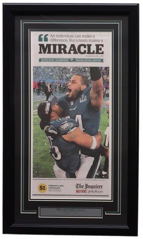 RARE Eagles Framed On Field Feb 4 2018 Super Bowl 52 Miracle Inquirer Page PSM-Powers Sports Memorabilia