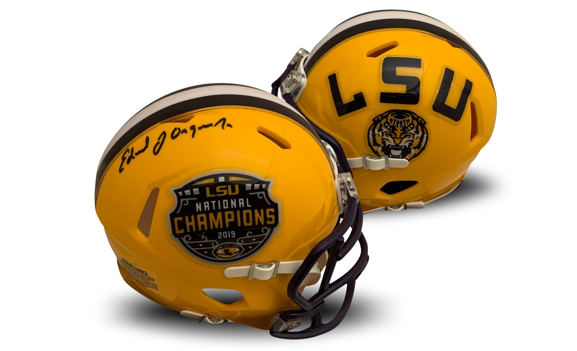 Ed Orgeron Autographed LSU Tigers 2019 National Championship Signed Football Mini Helmet Fanatics Authentic COA-Powers Sports Memorabilia