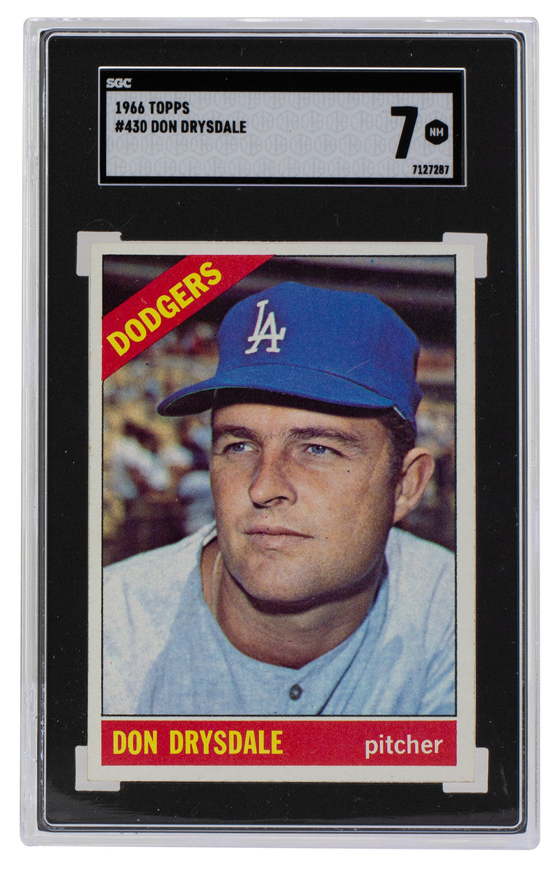 Don Drysdale Los Angeles Dodgers 1966 Topps #430 Slabbed Baseball Card SGC 7 NM PSM-Powers Sports Memorabilia