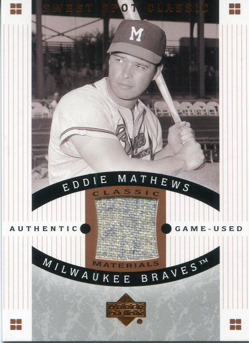 Eddie Mathews Unsigned 2005 Upper Deck Jersey Card PSM-Powers Sports Memorabilia