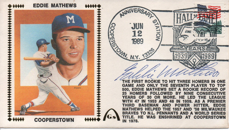 Eddie Mathews Autographed June 12, 1989 First Day Cover (JSA) PSM-Powers Sports Memorabilia