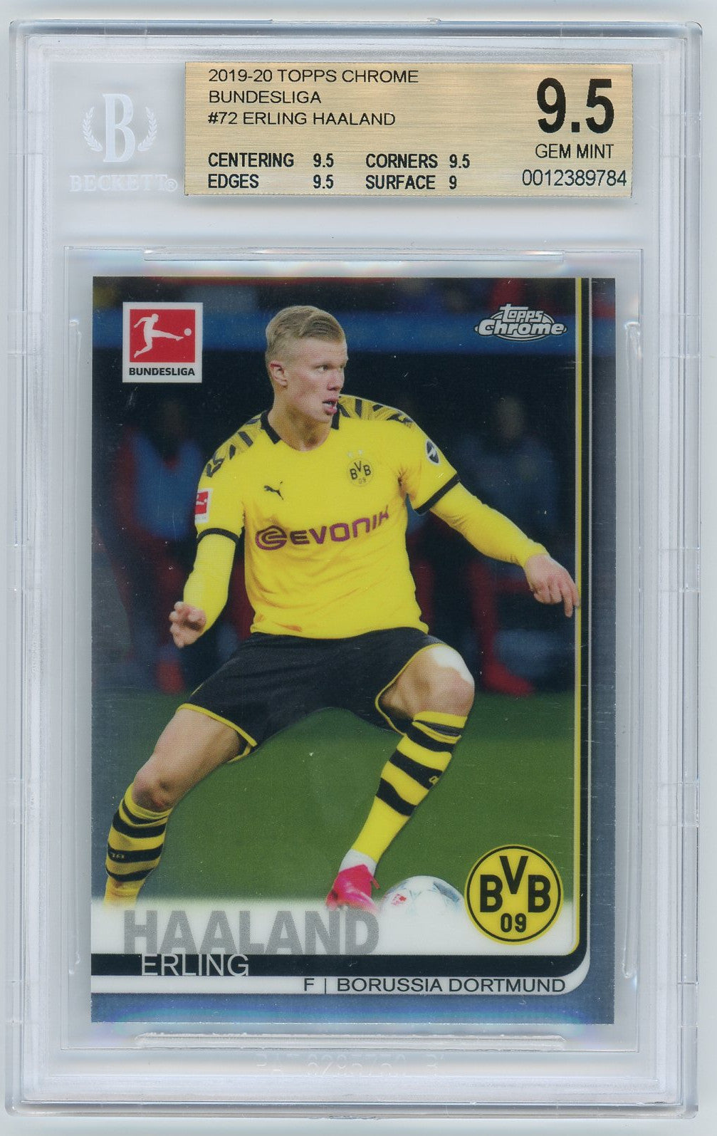 Erling Haaland Borussia Dortmund 2019-20 Topps Chrome Bundesliga Soccer Rookie Card RC #72 Graded BGS 9.5 GEM MINT 1-Powers Sports Memorabilia