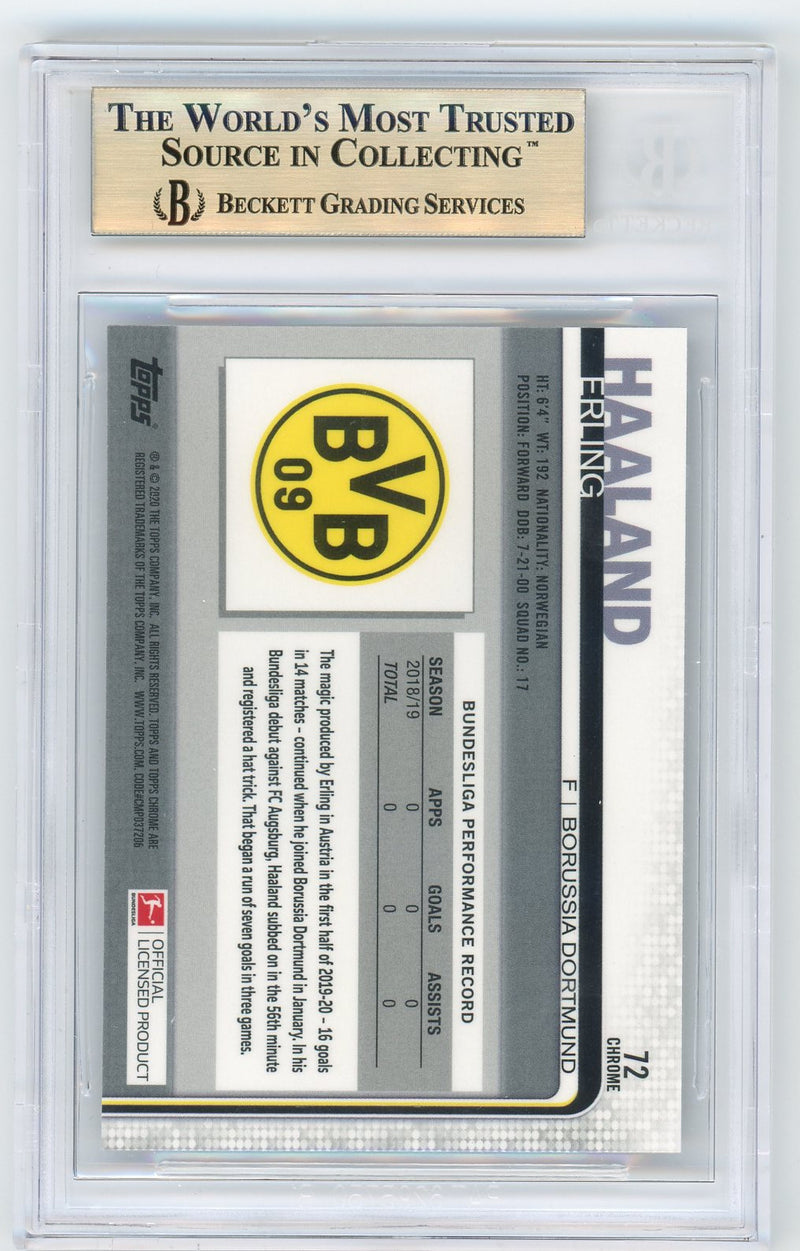 Erling Haaland Borussia Dortmund 2019-20 Topps Chrome Bundesliga Soccer Rookie Card RC #72 Graded BGS 9.5 GEM MINT 2-Powers Sports Memorabilia