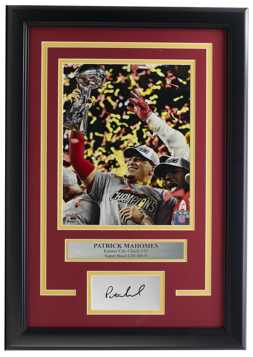 Patrick Mahomes Framed 8x10 Super Bowl 54 Photo w/ Laser Engraved Signature PSM-Powers Sports Memorabilia