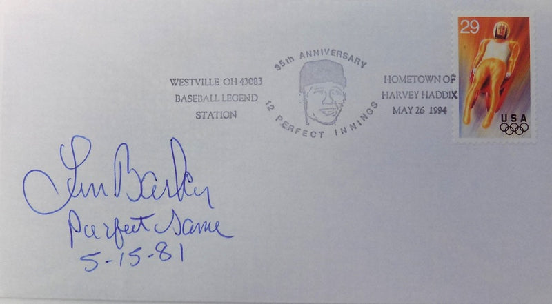 Len Barker Cleveland Indians Signed First Day Cover Perfect Game Insc. PSM-Powers Sports Memorabilia