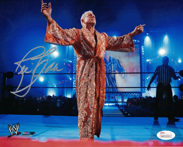 Ric Flair Autographed WWE Wrestling 8x10 Photo (Robe) JSA PSM-Powers Sports Memorabilia