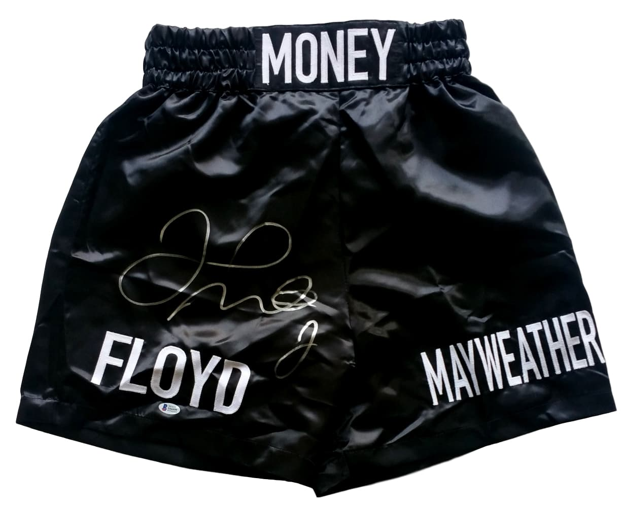 Floyd Mayweather Jr Signed Custom Money Black Boxing Trunks Beckett BAS PSM-Powers Sports Memorabilia