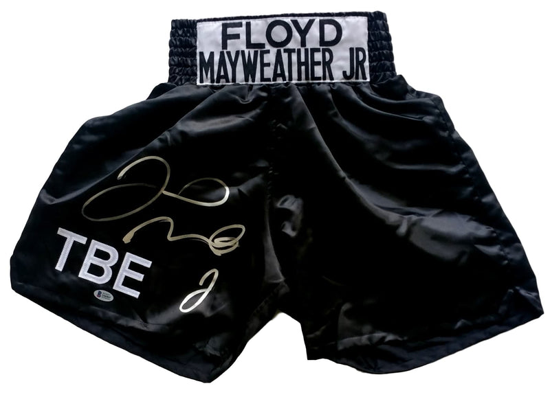 Floyd Mayweather Jr Signed Custom TBE Black Boxing Trunks Beckett BAS PSM-Powers Sports Memorabilia