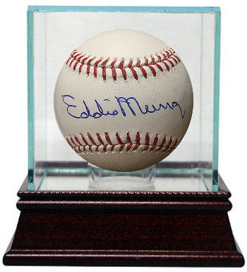Eddie Murray signed Official Major League Baseball w/ Glass Case (Baltimore Orioles) PSM-Powers Sports Memorabilia
