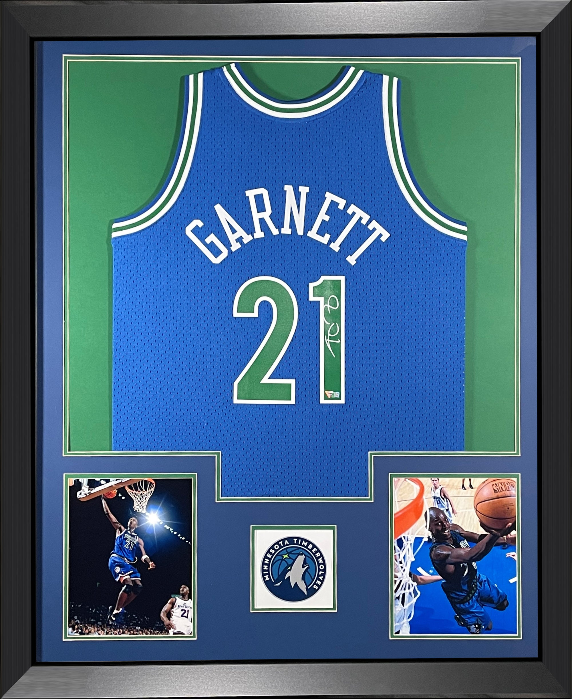 Kevin Garnett Autographed Minnesota Timberwolves 1995-1996 Mitchell and Ness NBA Swingman Signed Basketball Framed Jersey Fanatics Authentic COA-Powers Sports Memorabilia