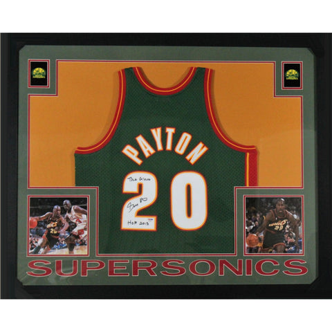 Gary Payton Autographed Seattle SuperSonics Mitchell and Ness Authentic Swingman Signed Basketball Framed Jersey HOF Glove PSA DNA COA-Powers Sports Memorabilia
