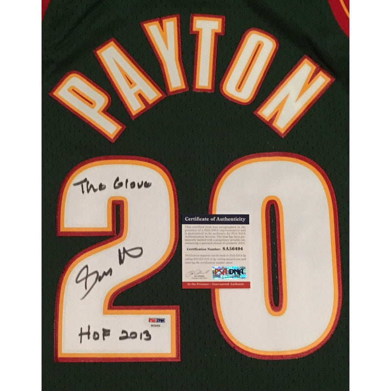Gary Payton Autographed Seattle SuperSonics Mitchell and Ness Authentic Swingman Signed Basketball Jersey HOF Glove PSA DNA COA-Powers Sports Memorabilia