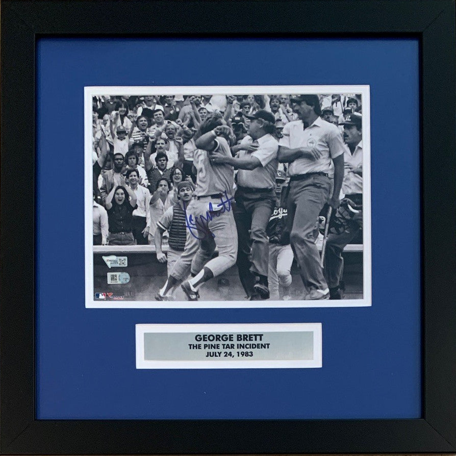 George Brett Autographed Kansas City Royals Pine Tar Incident Signed Baseball 8x10 Framed Photo MLB Fanatics Authenticated COA-Powers Sports Memorabilia