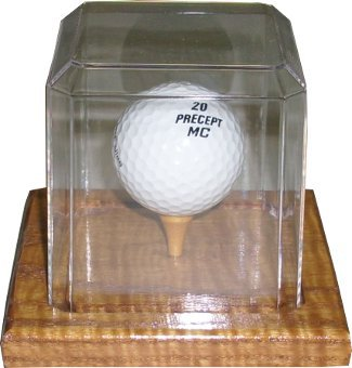 Golf Ball unsigned Display Case with Wood Base PSM-Powers Sports Memorabilia