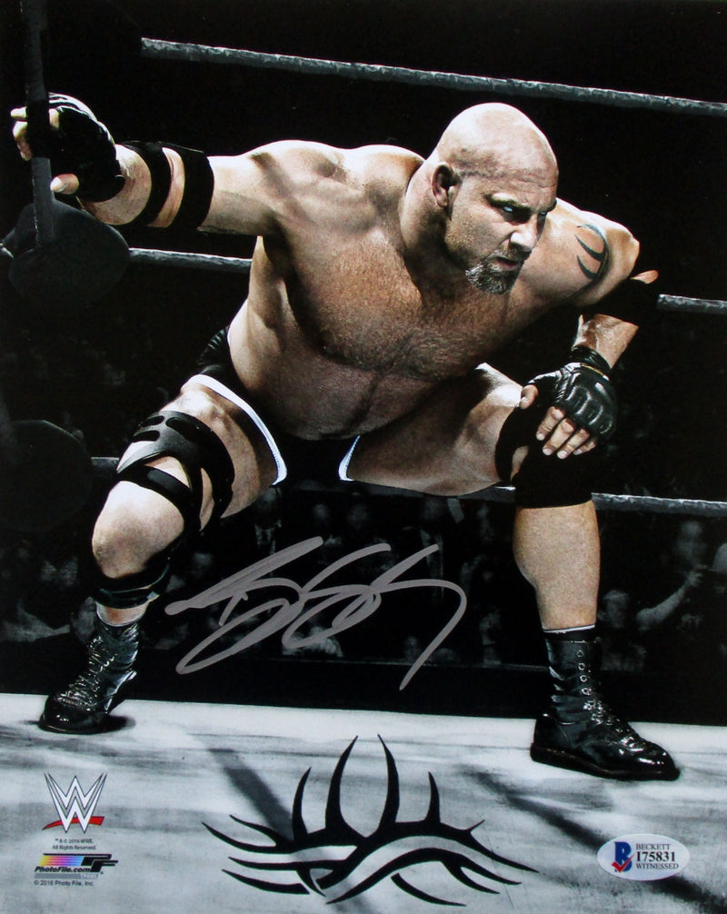 Goldberg Signed WWE 8x10 Spear Photo Beckett BAS PSM-Powers Sports Memorabilia