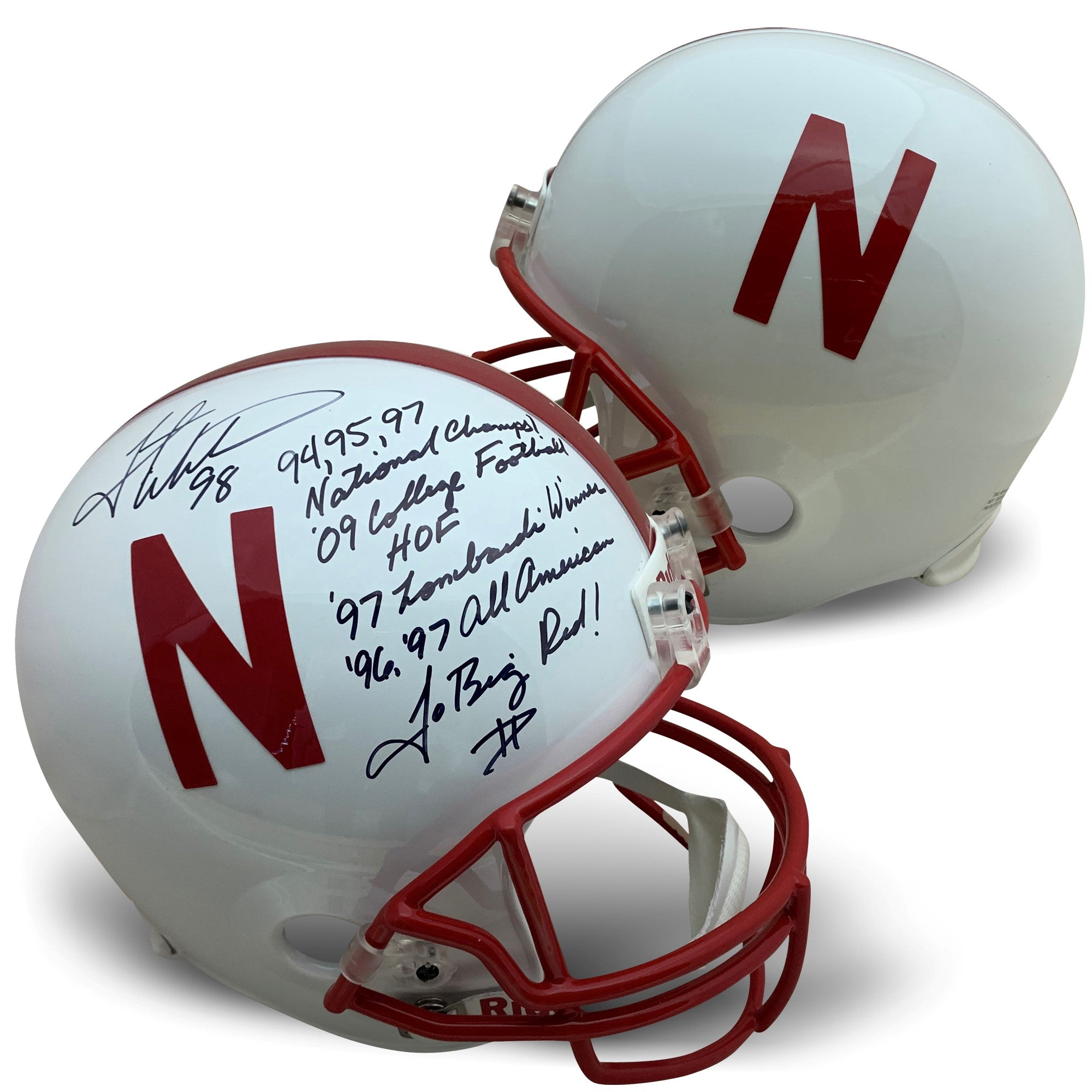 Grant Wistrom Autographed Nebraska Cornhuskers Signed Full Size Football Stat Helmet 3 x NATL CHAMP JSA COA-Powers Sports Memorabilia