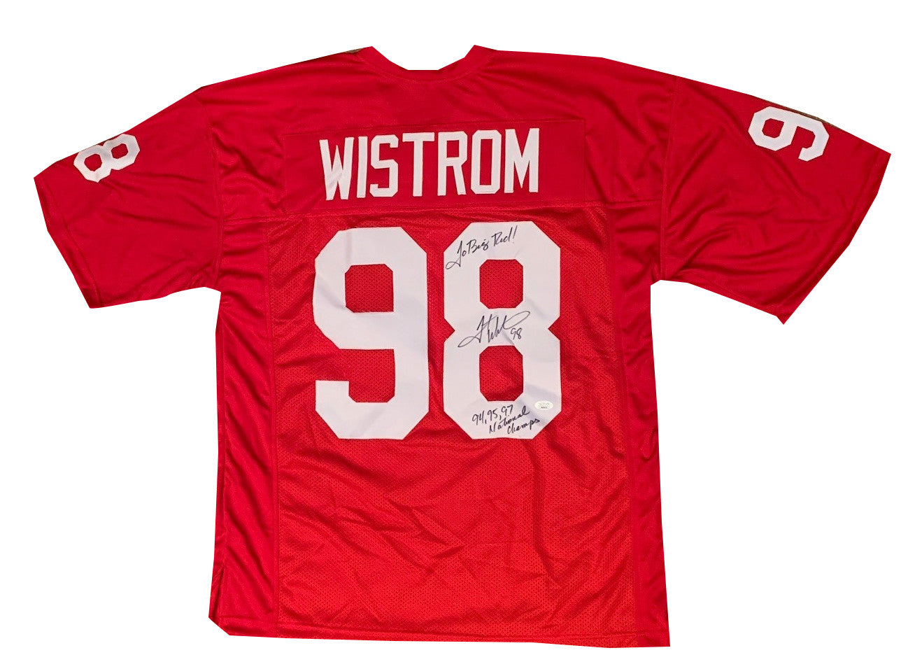 Grant Wistrom Autographed Nebraska Signed Football Jersey 94 95 97 NATL CHAMPS JSA COA-Powers Sports Memorabilia