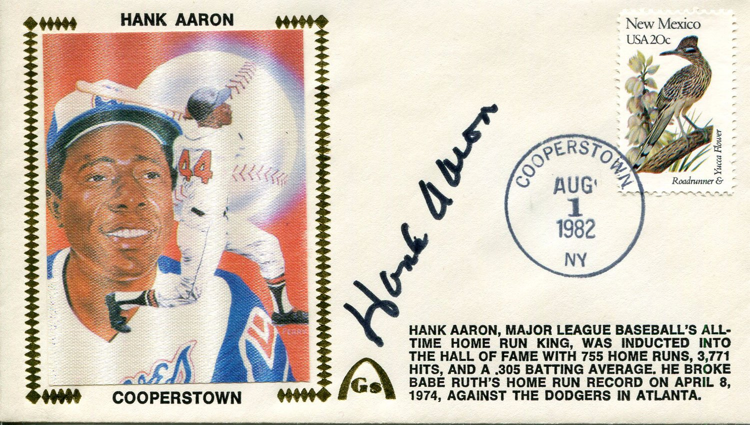 Hank Aaron Autographed 1st Day Cover PSM-Powers Sports Memorabilia
