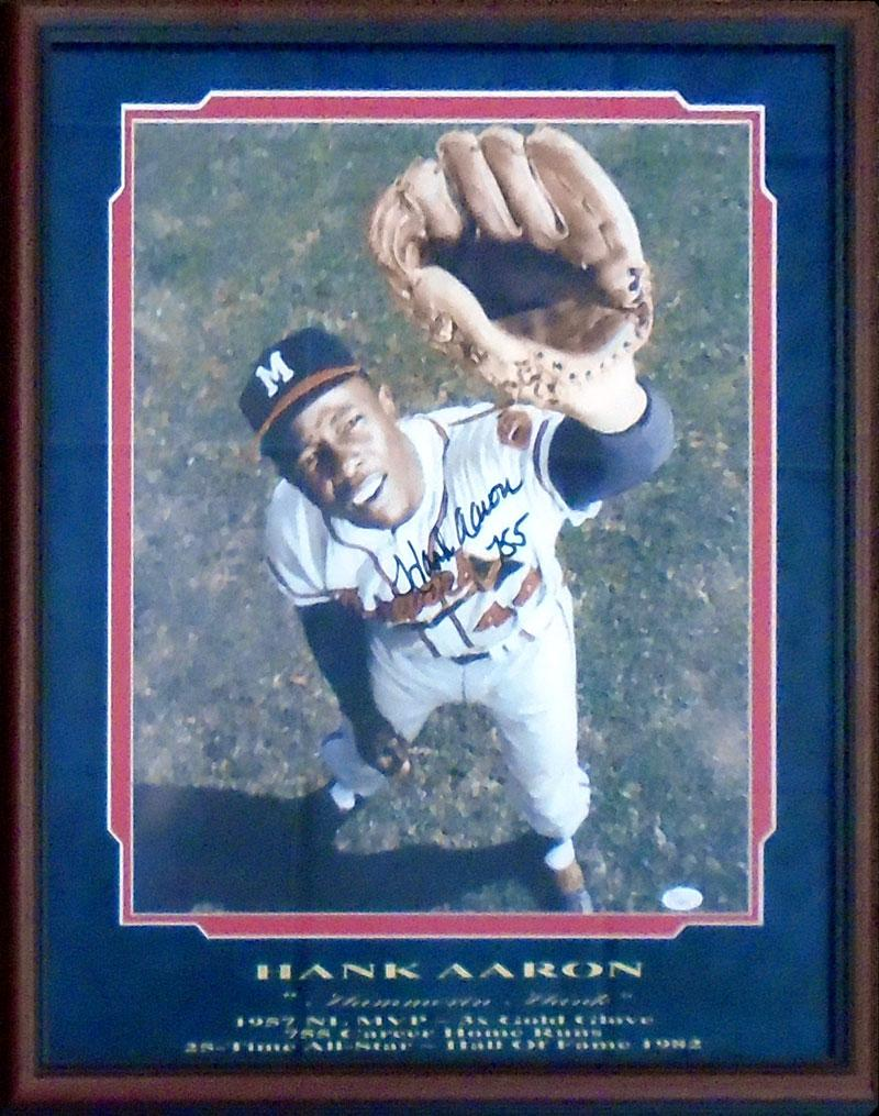 Hank Aaron 755 Autographed Framed 16x20 Photo (JSA) PSM-Powers Sports Memorabilia