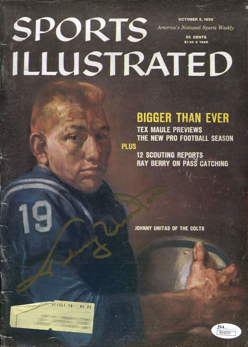 Johnny Unitas Autographed 1959 1st Sports Illustrated Cover Magazine (JSA) PSM-Powers Sports Memorabilia
