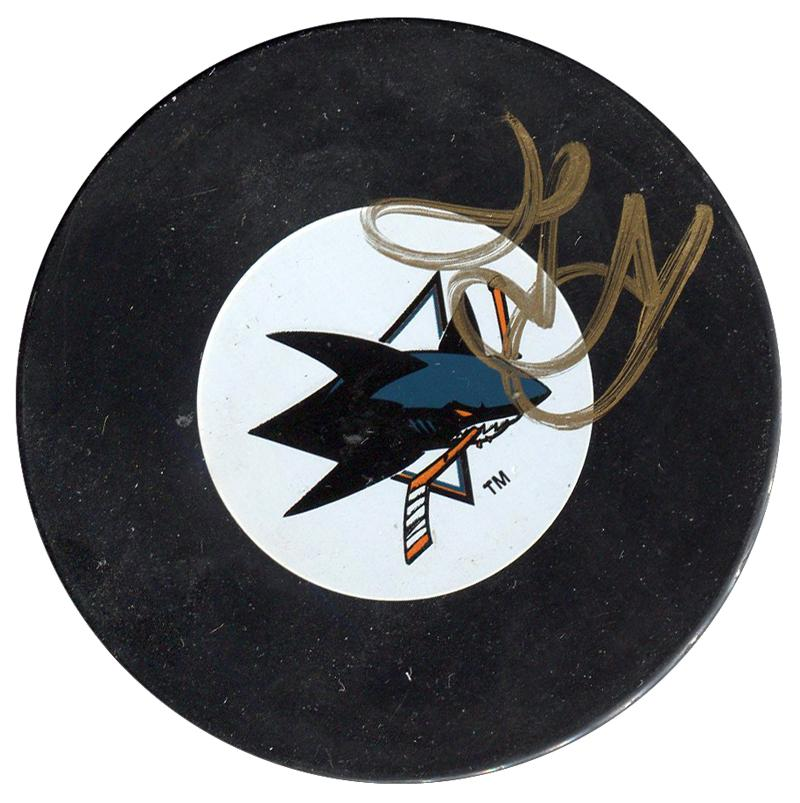 Rob Blake Autographed San Jose Sharks Puck PSM-Powers Sports Memorabilia