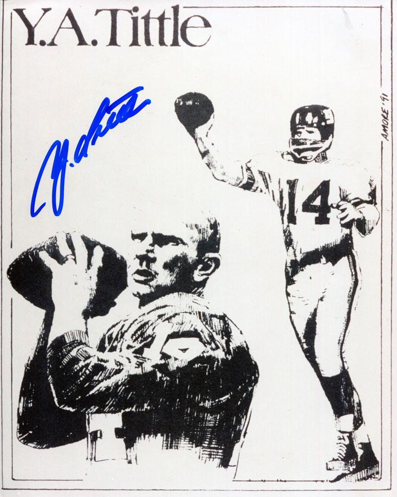 Y.A. Tittle Autographed 8x10 Photo PSM-Powers Sports Memorabilia