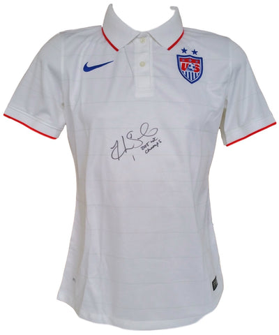Hope Solo Signed USA Soccer Nike Jersey 2015 WC Champs Insc. Medium JSA PSM-Powers Sports Memorabilia
