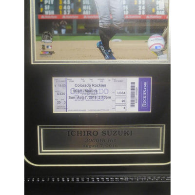 Ichiro Suzuki Framed 3000 Hit Ticket and Photo Baseball Display Photo-Powers Sports Memorabilia