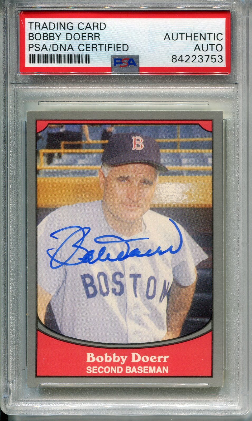Bobby Doerr Autographed 1990 Pacific Card (PSA) PSM-Powers Sports Memorabilia