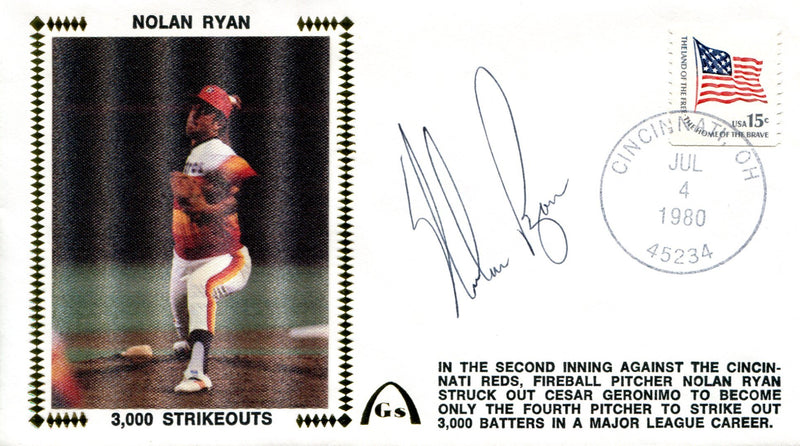 Nolan Ryan Autographed July 4th 1980 First Day Cover (JSA) PSM-Powers Sports Memorabilia