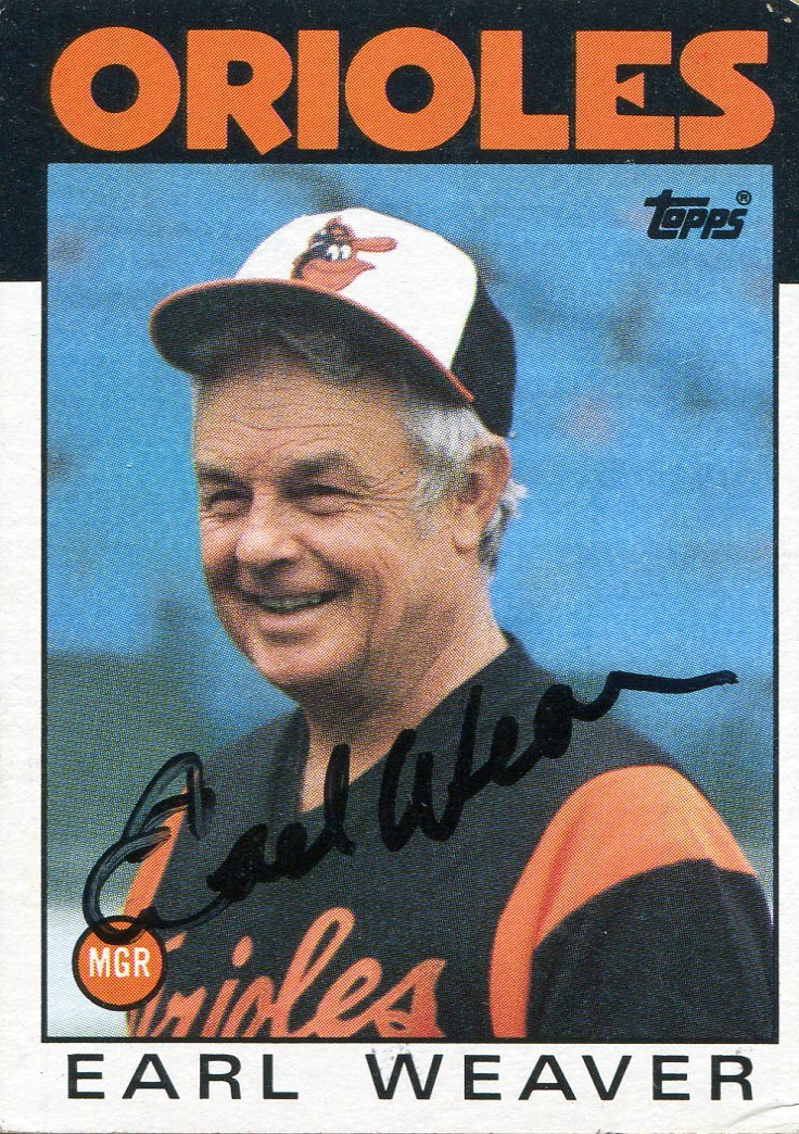 Earl Weaver Autographed 1986 Topps Card #321 PSM-Powers Sports Memorabilia