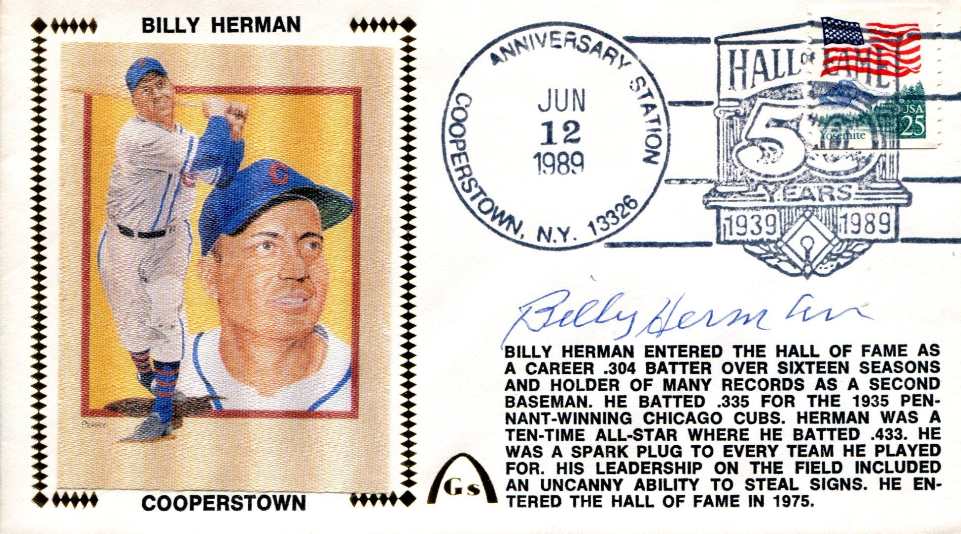 Billy Herman Autographed Gateway June 12 1989 First Day Cover PSM-Powers Sports Memorabilia