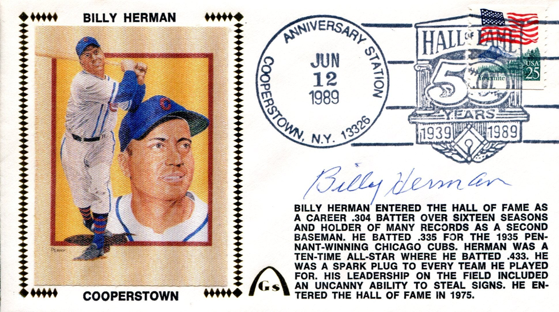 Billy Herman Autographed Gateway Jun 12 1989 First Day Cover PSM-Powers Sports Memorabilia