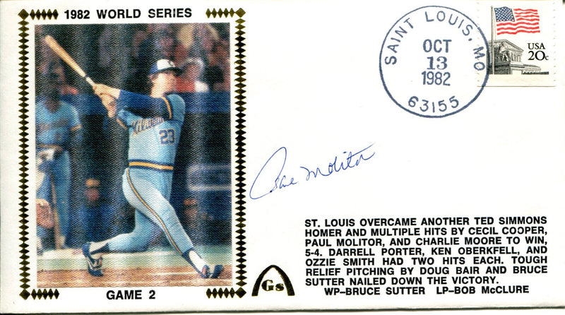 Paul Molitor Autographed October 13th 1982 Fist Day Cover (JSA) PSM-Powers Sports Memorabilia