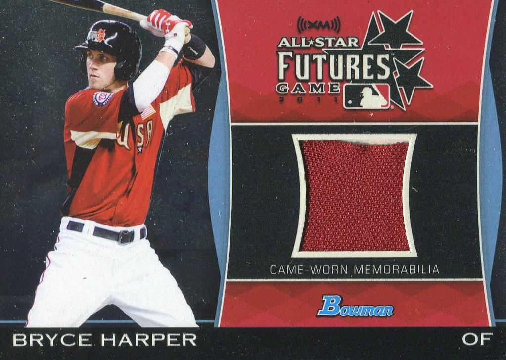 Bryce Harper 2011 Bowman Futures Game Used Jersey Relic Rookie Card PSM-Powers Sports Memorabilia