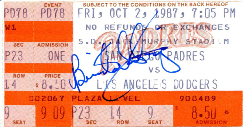 Benito Santiago Autographed Oct 2, 1987 San Diego Padres Ticket PSM-Powers Sports Memorabilia