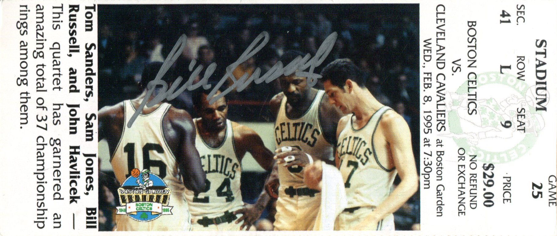 Bill Russell Autographed Feb 8th 1995 Boston Celtics Ticket PSM-Powers Sports Memorabilia